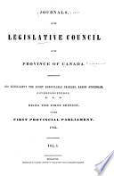 Journals, of the Legislative Council of the Province of Canada