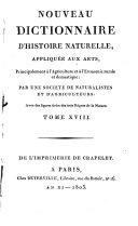 Nouveau Dictionnaire d'histoire naturelle, appliquee aux arts