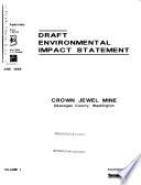 Crown Jewel Mine Project  Okanogan County D 2v  Dsum F 4v  Fsum  Record of Decision