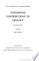 Stockholm Contributions in Geology