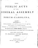 The Public Acts of the General Assembly of North-Carolina