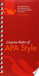 Concise Rules Of APA Style  6E 10  Book