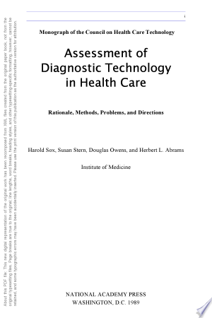 Download Assessment of Diagnostic Technology in Health Care Free Books - Read Books