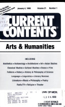 Current Contents, Arts & Humanities