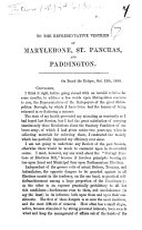 Pdf Begin. To the Representative Vestries of Marylebone, St. Pancras, and Paddington. [An address.]