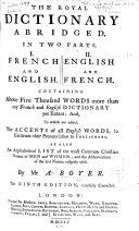 The Royal Dictionary Abridged ...