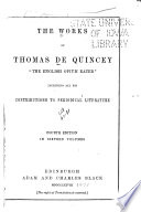 De Quincey s Works  The confessions of an English opium eater  The daughter of Lebanon