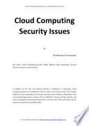 Cloud Computing Security Issues Book