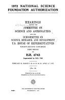 1972 National Science Foundation Authorization