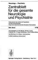 Zentralblatt für die Gesamte Neurologie und Psychiatrie