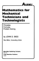 Mathematics for Mechanical Technicians and Technologists