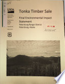 Tongass National Forest  N F   Tonka Timber Sale Book