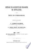 Beiträge zur Geschichte der Philosophie und Theologie des Mittelalters