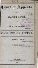 Court of Appeals: Claudine B. Weed, vs. Van Wyck Hewlett