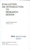 Evaluation  an Introduction to Research Design Book