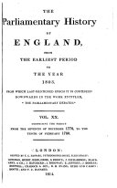 The Parliamentary History of England, from the Earliest Period to the Year 1803