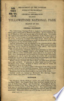 General Information Regarding Yellowstone National Park
