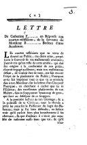 Lettre de Catherine F ... en réponse aux Courtes Réfléxions de la servante de Monsieur B..., Bedeau d'une Académie. [A political skit relating to the troubles at Geneva.]