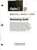 Algebra 2  Grades 9 12 Notetaking Guide