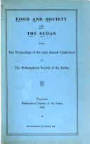 Food And Society In The Sudan Book PDF