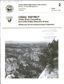 Craig District (White River, Kremmling, and Little Snake Resource Areas)