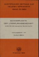 Schwerpunkte der Literaturwissenschaft ausserhalb des deutschen Sprachraums
