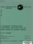 A Feasibility Investigation Concerning the Simulation of Sonic Boom by Ballistic Models