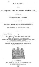 An Essay on the Antiquity of Hindoo Medicine