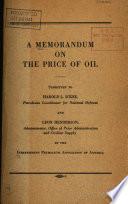 A Memorandum on the Price of Oil