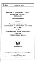 Reform of Federally Funded Manpower Training Programs