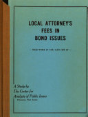 Local Attorney s Fees in Bond Issues  nice Work If You Can Get it