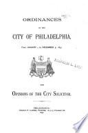 Ordinances of the City of Philadelphia