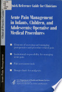 Acute Pain Management in Infants, Children, and Adolescents