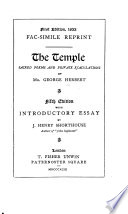 The Temple   Sacred Poems and Private Ejaculations Book