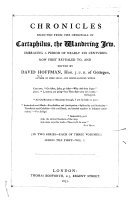 Chronicles Selected from the Originals of Cartaphilus  the Wandering Jew