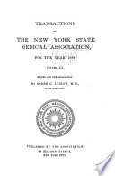 Transactions of the New York State Medical Association for the Year ...