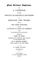 Pdf Fasti ecclesiae Anglicanae or a calendar of the principal ecclesiastical dignitaries in England and Wales