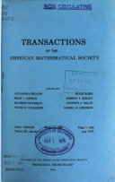 Transactions of the American Mathematical Society Book