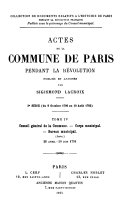 Actes de la Commune de Paris pendant la Revolution.
