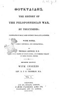 The History of the Peloponnesian War Illustrated by Maps  Taken Entirely from Actual Surveys by Thucydides