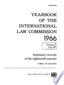 Yearbook Of The International Law Commission 1966 Vol I Part 2