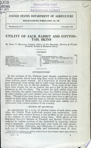 Download Utility of Jack Rabbit and Cotton-tail Skins PDF
