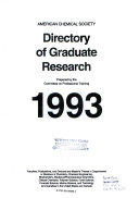 Acs Directory of Graduate Research 1993 Book
