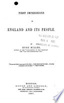 First Impressions of England and Its People Book