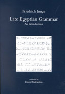 Late Egyptian Grammar