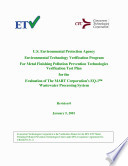 US EPA ETV Program for Metal Finishing Pollution Prevention Technologies Verification Test Plan