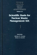 Scientific Basis for Nuclear Waste Management XIX  Volume 412