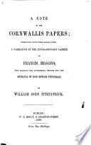 A Note to the Cornwallis Papers