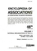 Encyclopedia Of Associations V1 National Org 46 Pt2 Book