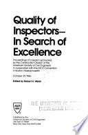 Quality of Inspectors--in Search of Excellence